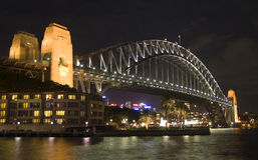Nuit de passerelle de Sydney Photo libre de droits
