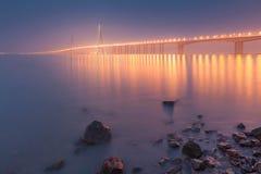 Nuit de pont de Sutong Photographie stock libre de droits