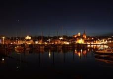 nuit de port Photographie stock