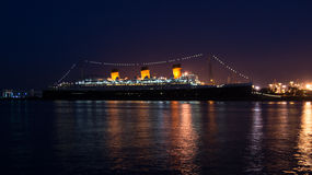 Nuit de Queen Mary Photographie stock libre de droits