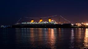 Nuit de Queen Mary Photographie stock libre de droits