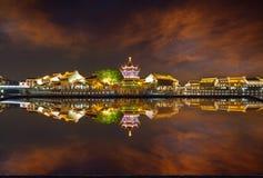 Nuit de Shantang dans la piscine, Suzhou, Chine Photo libre de droits