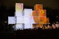 Nuit de Staro Riga, monumenth d'art de fassion avec des lumières Photo libre de droits