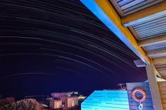 Nuit de traînée d'étoile en Grèce Image libre de droits