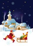 Nuit de village de Noël Photo libre de droits