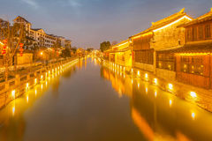 Nuit de ville de dangkou de Wuxi Photo stock