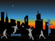 Nuit de ville de Fotball Photographie stock