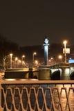 Nuit de ville de l'hiver Image libre de droits