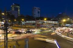 Nuit de ville de Saigon - de Ho Chi Minh image libre de droits