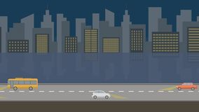 Nuit de ville Fond panoramique 4K d'animation de boucle de bande dessinée plate banque de vidéos