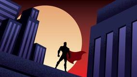 Nuit de ville de super héros illustration de vecteur