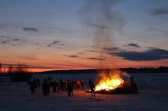 Nuit de Walpurgis dans Luleå photo stock