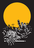 Nuit de zombi de Halloween. Image libre de droits