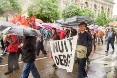 Nuit debout placard at may protest against France labour reforms Royalty Free Stock Images