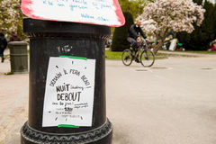 'Nuit Debout' or 'Standing night' in PLace de la Republique Royalty Free Stock Image