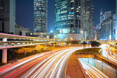Nuit du trafic dans le centre-ville Images libres de droits
