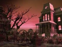 Nuit effrayante fantasmagorique de Halloween de cimetière de manoir illustration de vecteur