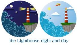 Nuit et jour de phare Photographie stock