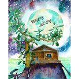 Nuit fantastique avec l'aquarelle illustration stock