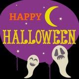Nuit heureuse de demi-lune de Halloween avec des fantômes Images libres de droits