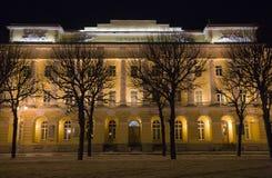 nuit historique de façade de construction Images stock
