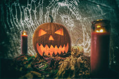 Nuit Jack O& x27 de Halloween ; Toile d'araignée de lanterne Photographie stock libre de droits