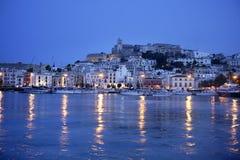 nuit méditerranéenne d'île d'ibiza de port Photographie stock libre de droits