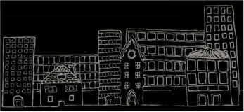 Nuit mélangée de constructions illustration de vecteur