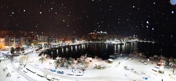 Nuit majestueuse de neige Photo stock