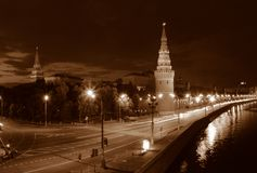 Nuit Moscou. image stock