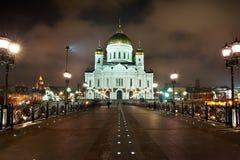 Nuit Moscou. Genre sur le sauveur du Christ de temple Photographie stock