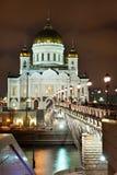 Nuit Moscou. Genre sur le sauveur du Christ de temple Image libre de droits