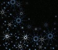 Nuit noire avec des flocons de neige Images stock
