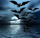 Nuit noire. Lune et 'bat' Image stock