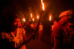 Nuit Nyepi - an neuf de Balinese Photos libres de droits