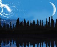 Nuit pluvieuse de ville image stock
