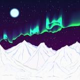 Nuit polaire, l'aurore, ours blanc Image libre de droits