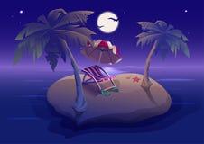 Nuit romantique de repos d'été sur l'île tropicale sous des palmiers Photos stock