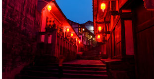 Nuit rouge de lanterne de vieille ville de porcelaine photos libres de droits