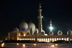 Nuit Sheikh Zayed Mosque en Abu Dhab Photos stock