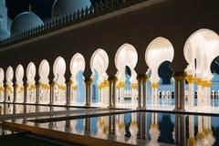 Nuit Sheikh Zayed Mosque en Abu Dhab Image libre de droits