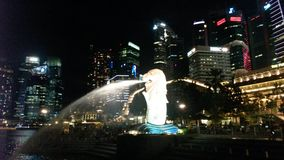 Nuit Singapur d'horizon Image stock