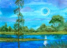 Nuit sur le fleuve Image libre de droits