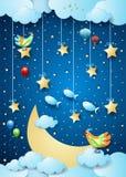 Nuit surréaliste avec la grands lune, oiseaux, ballons et poissons de vol photographie stock libre de droits
