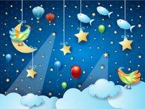 Nuit surréaliste avec la lune, les projecteurs, l'oiseau, les ballons et les poissons de vol accrochants images libres de droits