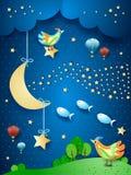 Nuit surréaliste avec la lune, la vague des étoiles, les oiseaux, les ballons et les poissons de vol photographie stock