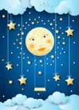 Nuit surréaliste avec la pleine lune, les étoiles accrochantes et l'oscillation Photo libre de droits