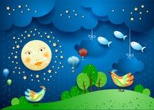 Nuit surréaliste avec la pleine lune, les oiseaux, les ballons et les fisches volants images stock