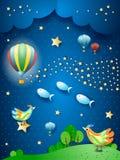 Nuit surréaliste avec le ballon, la vague des étoiles, les oiseaux et les poissons de vol images libres de droits