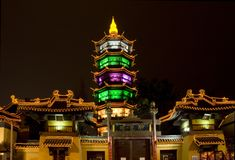 Nuit Wuxi Chine de temple de Taoist Images stock